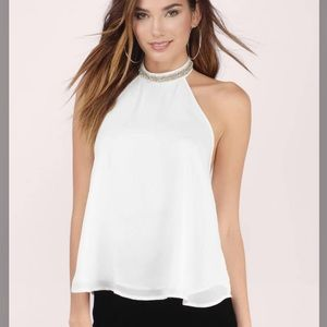 TOBI NEW W TAGS White embellished sheer halter top